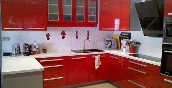 Cuisine Rouge Brillant cuisine : cuisine rouge brillant - gd agencement